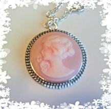 Vintage style round CAMEO necklace girl w flower white pink background +... - $10.95