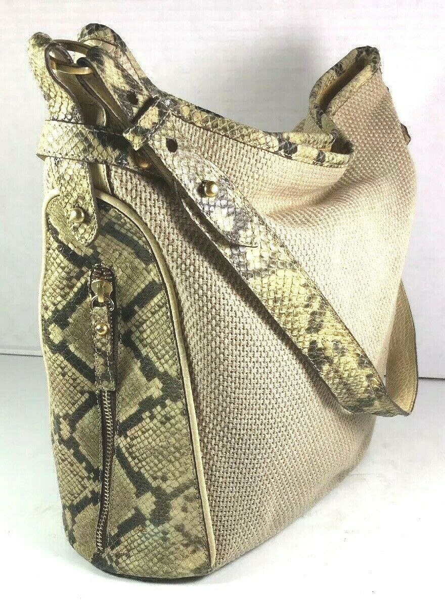Brahmin Beige Fabric and Reptile Print Trim Shoulder Bag- Well Worn image 3