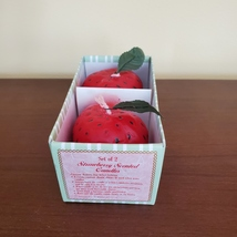 """STRAWBERRY SCENTED CANDLES Set of 2 Red Strawberries Shape Candle 2 1/4"""" H image 4"""