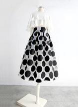 Women White Black Strip Pleated Midi Skirt A-line High Waist Pleated Plaid Skirt image 11
