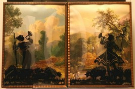 """Set of 2 Convex Glass 6 1/2"""" X 8 1/2"""" Silhouette Pictures Lamb Shepherds 149"""