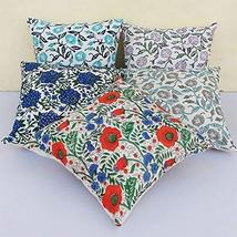 Traditional Jaipur Set of 5 Block Print Fabric Indian Cushions Pillow Covers Dec - $39.59