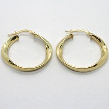 18K YELLOW GOLD PENDANT CIRCLE HOOPS ONDULATE TWISTED EARRINGS, MADE IN ITALY image 3
