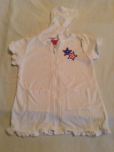 Size 24 mo Penny M swimsuit cover dress hoody patriotic ruffle white - $13.99