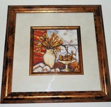 Bronze Floral Vase Fruit FRAMED ART PRINT Gold ... - $6.95