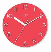 Happy Virus 5002 Red MDF Non-Ticking Silent Quartz Decorative Modern Round Wall