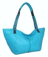 NWT Italian Designer Nino Bossi Turquoise Leather Whip Strap Hobo Should... - $63.99