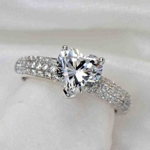 Certified 2.60Ct White Heart Diamond Beautiful Engagement Ring in 14K Wh... - $260.27