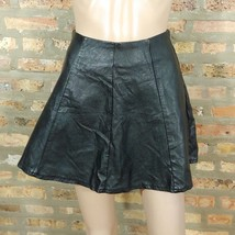 Forever 21 Black Vegan Faux Leather High Waist Fit & Flare Skater Mini Skirt XS - $15.00