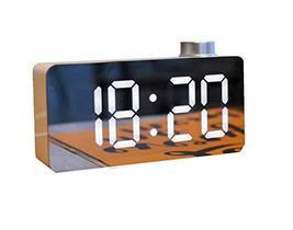 Mooas USB Dual LED Mirror Alram Rectangle Desk Clock