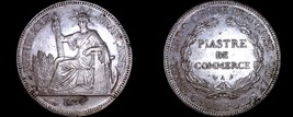1897-A French Indo-China 1 Piastre World Silver Coin - Vietnam - $249.99