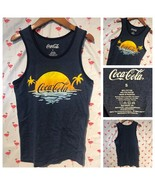 Coca-Cola Mens S Blue Ocean Beach Logo Sleeveless Tank Top A2143 - $12.25