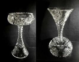 "American Brilliant Period REVERSIBLE Compote Vase 10"" Olive Cut Rim Fann... - $79.95"