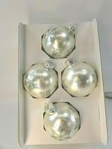 4 Vintage Rauch Christmas Ornaments White Silver Frosted Glitter 32996 Snowflake - $29.69