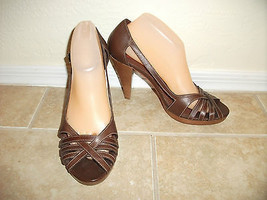 Michael Kors Womens 9.5 Brown Leather Strappy S... - $29.99