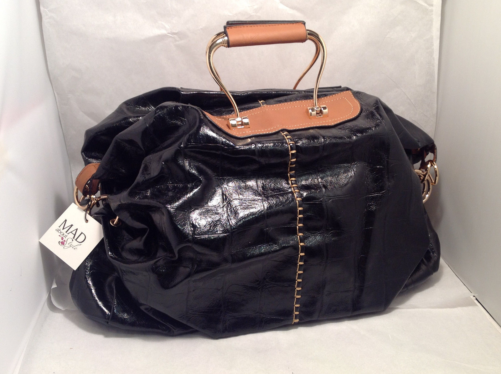 Mad About Style Doctor Bowler Handbag Purse Black Patent Leather Look Brown Trim