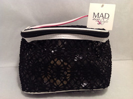 Mad About Style Cosmetics Makeup Bag Clear w/ White Trim & Overlaid Black Lace