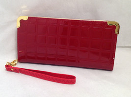 Mad By Design Zip Around Accordian Wallet + Wrist Strap Red Embossed Patent Look