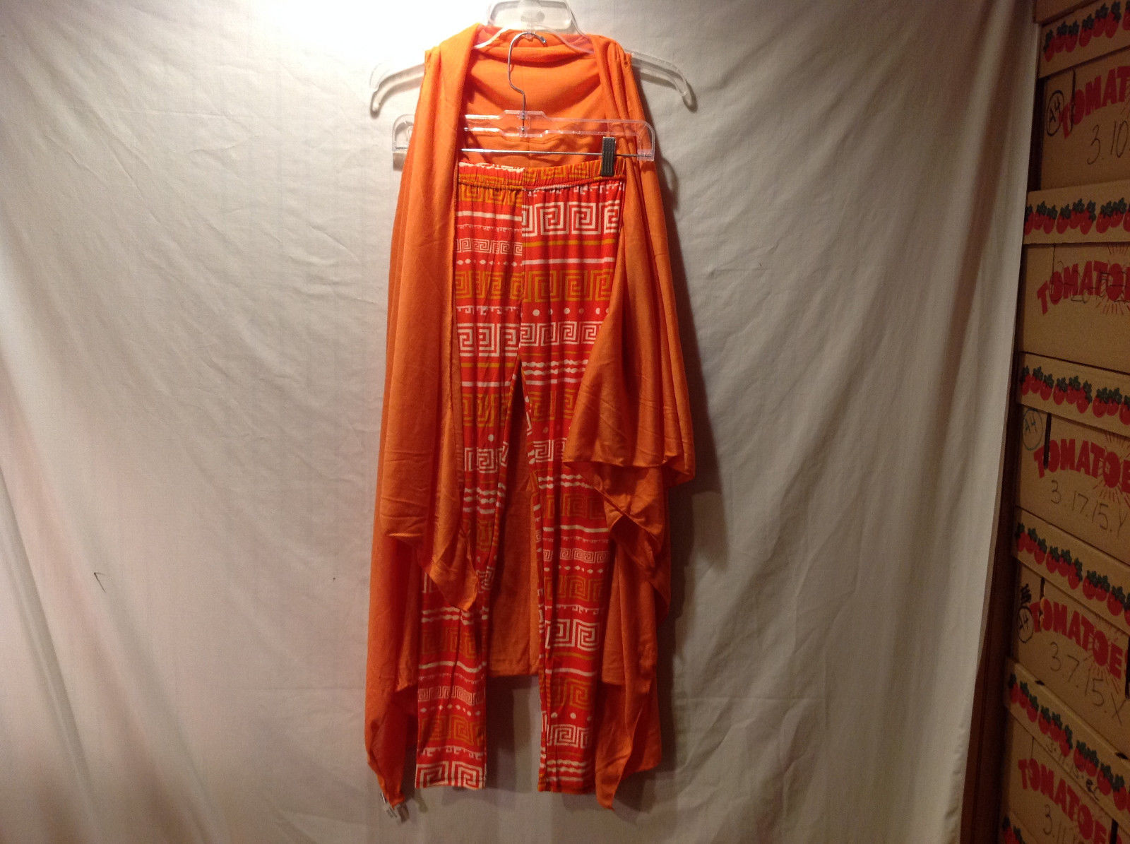 Mad Style Women's 1 Size Long Cardigan & Tile Print Leggings Set Citrus Orange