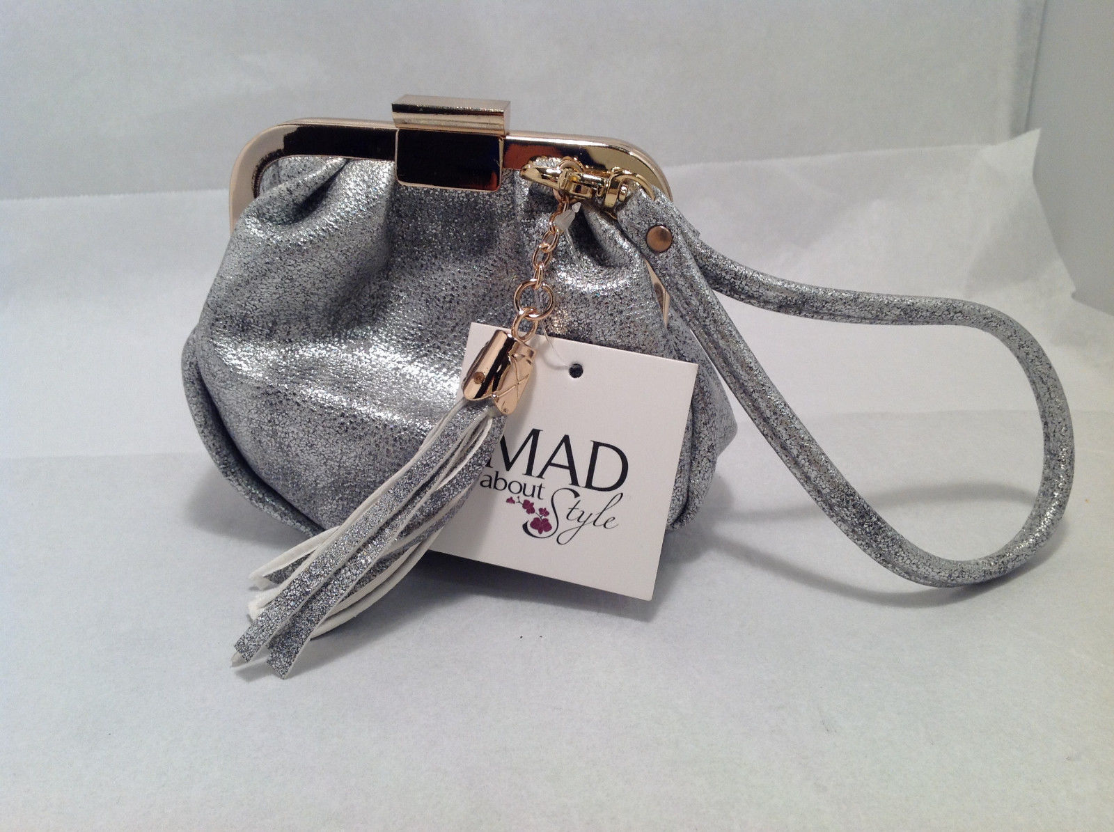 Mad About Style Mini Pouch Bag Change Purse Pebbled Silver w/ Gold Tone Hardware