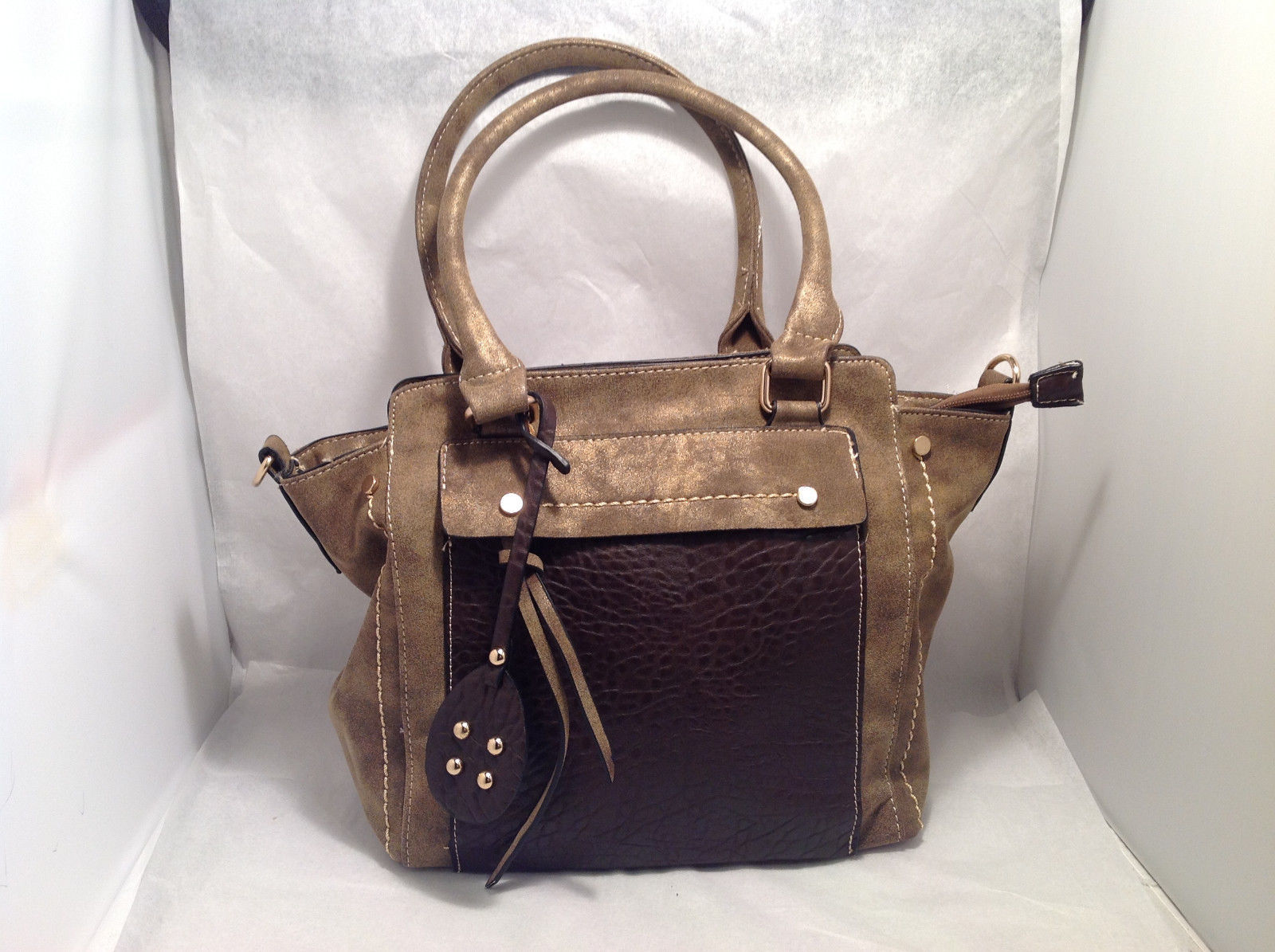 Mad About Style Handbag Satchel Brazen Suede Like Texture w/ Pebbled Brown Panel