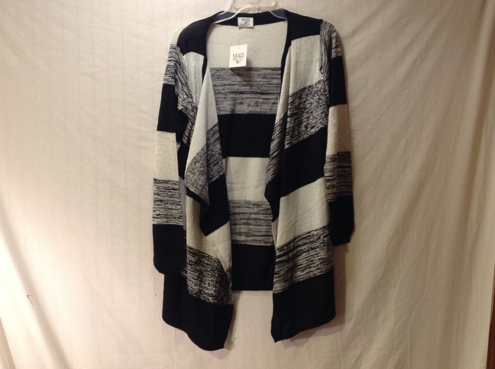 Mad Style Women's One Size Cardigan Black & White Striped w/ Metallic Threads
