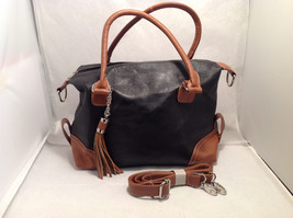 Mad About Style Shoulder Handbag Pebbled Faux Leather Black Purse Brown Tassel