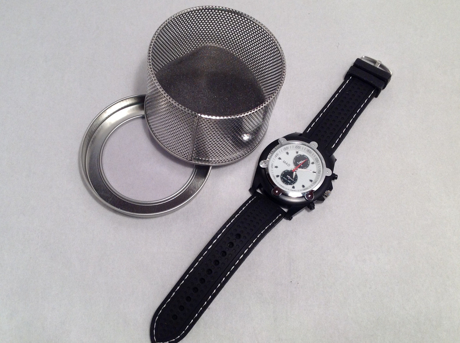 "Mad Style Men's ""ChronoK"" Watch Black Strap White Face Red Hand Silver Accents"