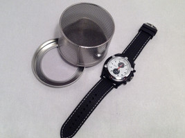 """Mad Style Men's """"ChronoK"""" Watch Black Strap White Face Red Hand Silver Accents"""