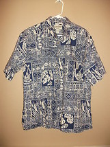 Vintage Cooke Street Mens L Hawaiian Shirt Blue White Fish Guitar Drum Lei - $13.79