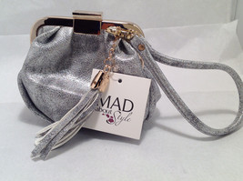 Mad About Style Mini Pouch Bag Change Purse Pebbled Silver w/ Gold Tone Hardware image 2
