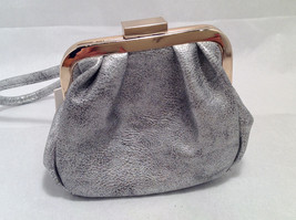 Mad About Style Mini Pouch Bag Change Purse Pebbled Silver w/ Gold Tone Hardware image 4