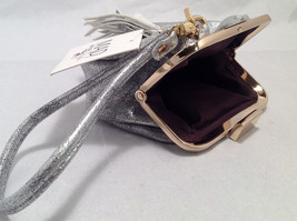 Mad About Style Mini Pouch Bag Change Purse Pebbled Silver w/ Gold Tone Hardware image 5