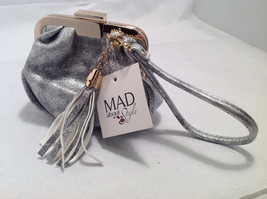 Mad About Style Mini Pouch Bag Change Purse Pebbled Silver w/ Gold Tone Hardware image 8