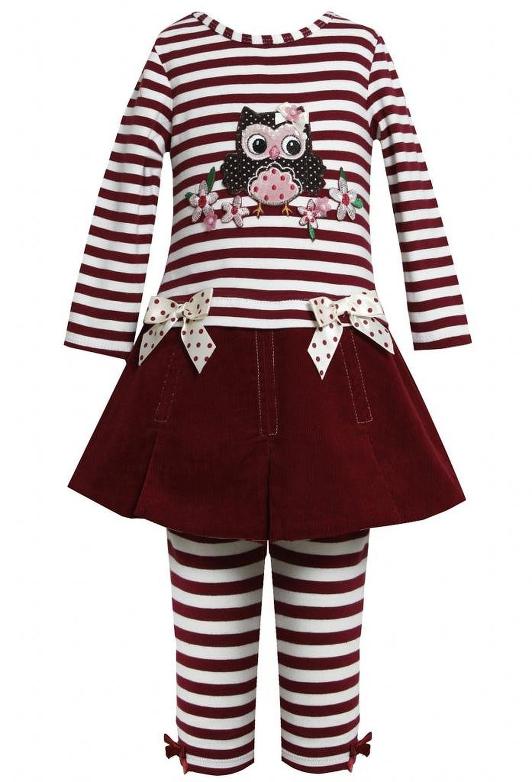 Little Girl 2T-6X Burgundy Red Striped Knit Corduroy Skirt Owl Dress/Legging Set