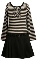 Little Girls 2T-6X Black Grey Stripe and Solid Belted Drop Waist Knit Dress