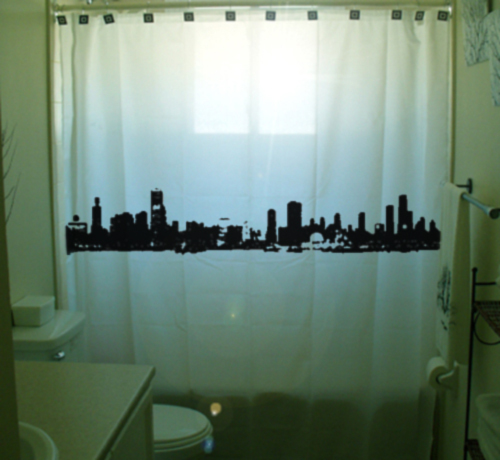 SHOWER CURTAIN city Chicago Waterfront Illinois windy