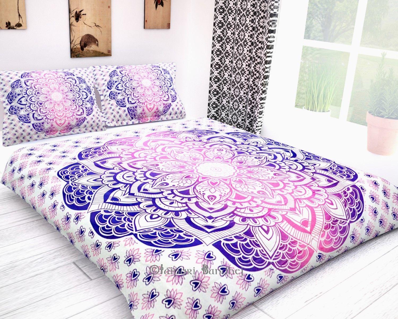 Ombre Mandala Boho Duvet Cover Twin Indian Quilt Cotton