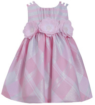 Little Girls 2T-6X Pink Silver Metallic Plaid Triple Strap Social Dress