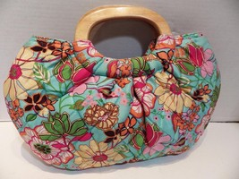 Vera Bradley Tropical Silk Limited Edition Kelly Turquoise Blue Wood Handle - $28.05
