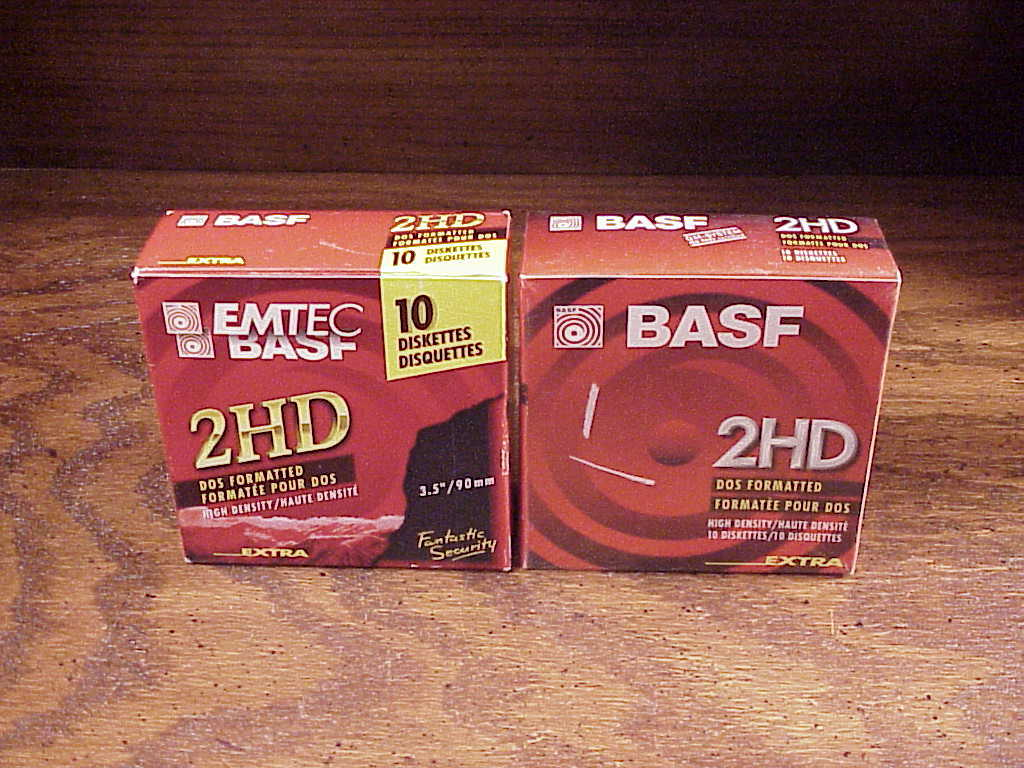Lot of 2 Boxes of BASF High Density 2HD 3.5 Inch Diskettes 1.44 MB, 20 Diskettes