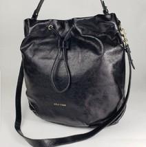 Cole Haan Stagedoor Studio Bucket Bag Drawstring Black Leather New $380 - $116.86