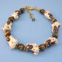 Dog Porcelain & Tigers Eye Beaded Bracelet - $21.95