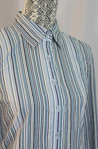 Tommy Hilfiger Blue Gray White Striped Cotton B... - $12.74