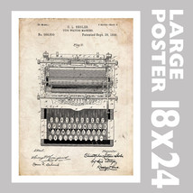 TYPEWRITER TYPE WRITER SHOLES US PATENT PRINT 1... - $18.95