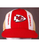 VTG Kansas City Chiefs Trucker Hat-Lucky Stripe-Red/Yellow-NFL-Snap-Foot... - $37.39
