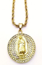 Hip Hop 14K Gold Plated Iced CZ Oval Jesus Pendant with Rope Chain Neckl... - $10.39