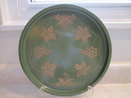 Green Leaf Tray Round with Gold Toned Leaves, Grapes.  Vintage tray or w... - $12.99