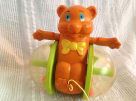VINTAGE 1978 FISHER-PRICE # 642 ROLLING BROWN BEAR PULL TOY PLASTIC  MAD... - $23.36