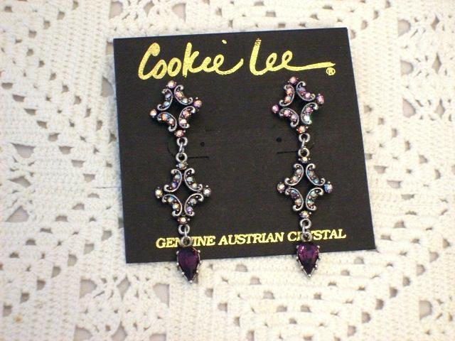 Cookie Lee Victorian Inspired Genuine Austrian Crystal Earrings, #90007, New!